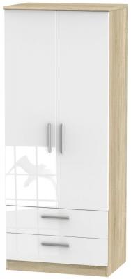 Knightsbridge 2 Door 2 Drawer Wardrobe - High Gloss White and Bardolino