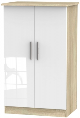 Knightsbridge 2 Door Midi Wardrobe - High Gloss White and Bardolino