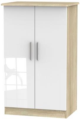 Knightsbridge 2 Door Midi Wardrobe - High Gloss White and Bardolino