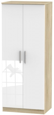 Knightsbridge 2 Door Wardrobe - High Gloss White and Bardolino