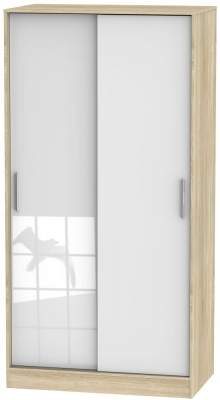 Knightsbridge 2 Door Sliding Wardrobe - High Gloss White and Bardolino