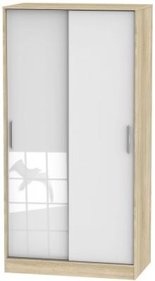 Knightsbridge High Gloss White and Bardolino 2 Door Wide Sliding Wardrobe
