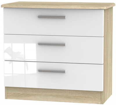Knightsbridge 3 Drawer Chest - High Gloss White and Bardolino