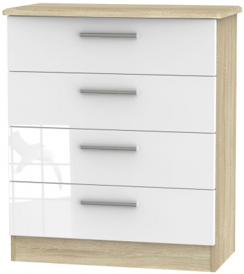 Knightsbridge 4 Drawer Chest - High Gloss White and Bardolino