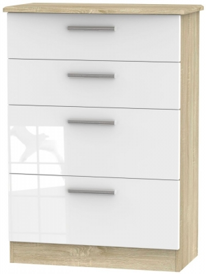 Knightsbridge 4 Drawer Deep Chest - High Gloss White and Bardolino