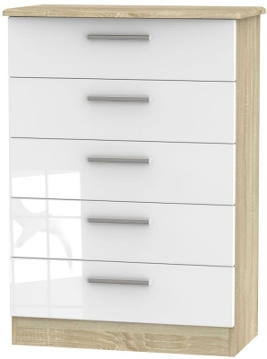 Knightsbridge 5 Drawer Chest - High Gloss White and Bardolino