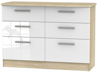 Knightsbridge 6 Drawer Midi Chest - High Gloss White and Bardolino
