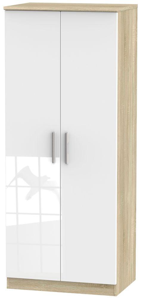 Knightsbridge 2 Door Wardrobe - High Gloss White and Bardolino
