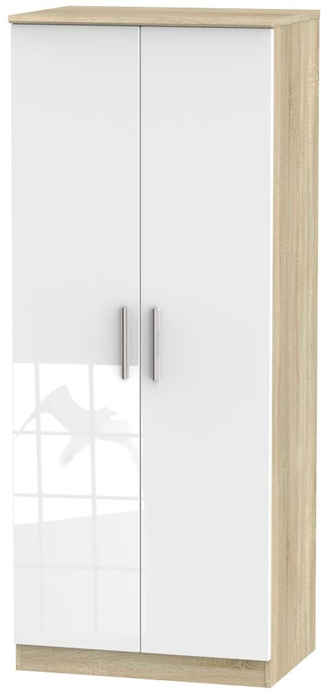 Knightsbridge High Gloss White and Bardolino 2 Door Plain Wardrobe