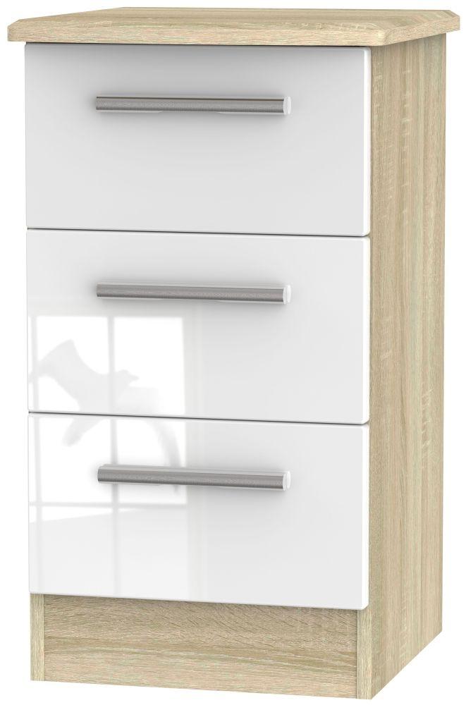 Knightsbridge 3 Drawer Bedside Cabinet - High Gloss White and Bardolino
