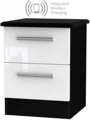 Knightsbridge 2 Drawer Bedside Cabinet with Integrated Wireless Charging - High Gloss White and Black