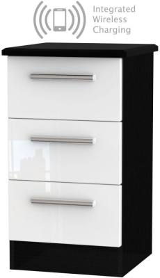 Knightsbridge 3 Drawer Bedside Cabinet with Integrated Wireless Charging - High Gloss White and Black