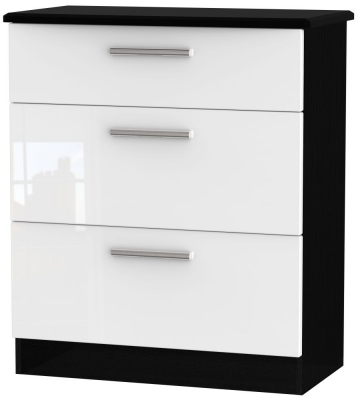 Knightsbridge 3 Drawer Deep Chest - High Gloss White and Black