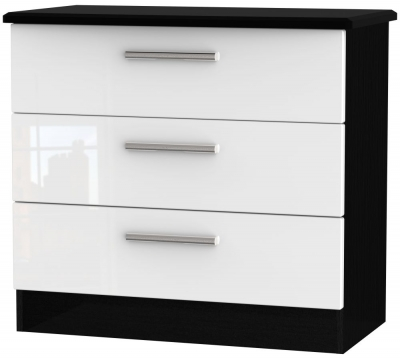Knightsbridge 3 Drawer Chest - High Gloss White and Black