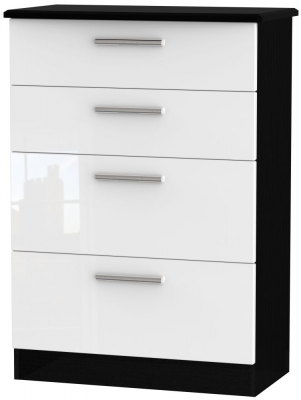 Knightsbridge 4 Drawer Deep Chest - High Gloss White and Black