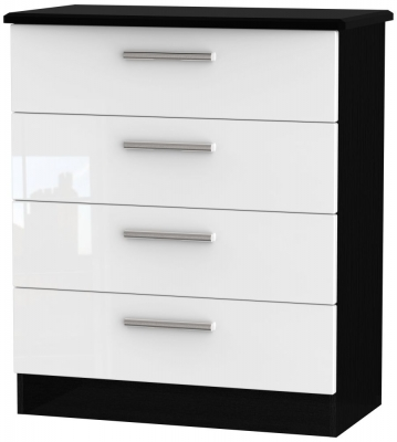 Knightsbridge 4 Drawer Chest - High Gloss White and Black