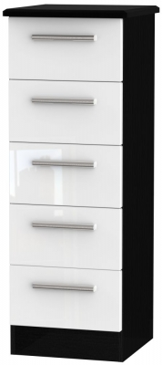 Knightsbridge 5 Drawer Tall Chest - High Gloss White and Black