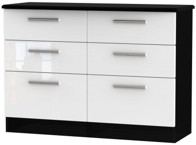 Knightsbridge 6 Drawer Midi Chest - High Gloss White and Black