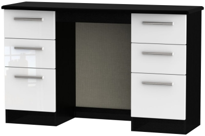 Knightsbridge Double Pedestal Dressing Table - High Gloss White and Black