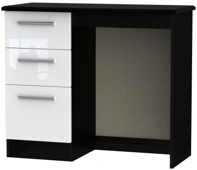 Knightsbridge Single Pedestal Dressing Table - High Gloss White and Black