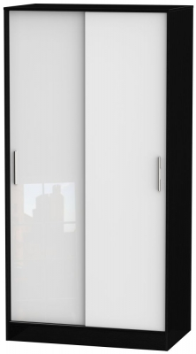 Knightsbridge 2 Door Sliding Wardrobe - High Gloss White and Black