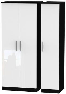 Knightsbridge 3 Door Wardrobe - High Gloss White and Black