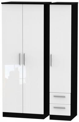 Knightsbridge 3 Door 2 Right Drawer Tall Wardrobe - High Gloss White and Black