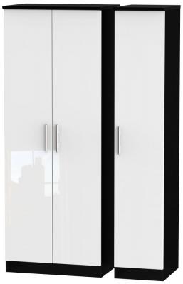 Knightsbridge 3 Door Tall Wardrobe - High Gloss White and Black