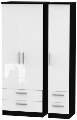 Knightsbridge 3 Door 4 Drawer Tall Wardrobe - High Gloss White and Black