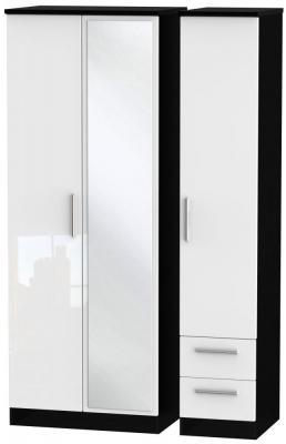 Knightsbridge 3 Door 2 Right Drawer Tall Combi Wardrobe - High Gloss White and Black