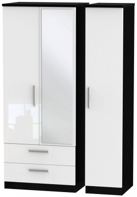 Knightsbridge 3 Door 2 Left Drawer Combi Wardrobe - High Gloss White and Black