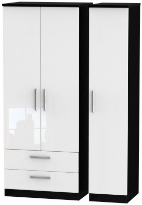 Knightsbridge 3 Door 2 Left Drawer Wardrobe - High Gloss White and Black