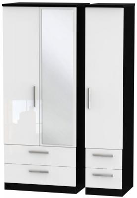Knightsbridge 3 Door 4 Drawer Combi Wardrobe - High Gloss White and Black