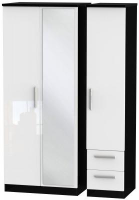 Knightsbridge 3 Door 2 Right Drawer Combi Wardrobe - High Gloss White and Black