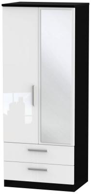 Knightsbridge 2 Door Combi Wardrobe - High Gloss White and Black