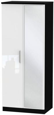 Knightsbridge 2 Door Mirror Wardrobe - High Gloss White and Black