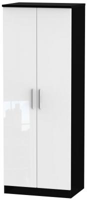 Knightsbridge 2 Door Tall Hanging Wardrobe - High Gloss White and Black