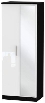 Knightsbridge 2 Door Tall Mirror Wardrobe - High Gloss White and Black