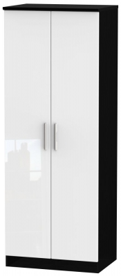 Knightsbridge 2 Door Tall Wardrobe - High Gloss White and Black