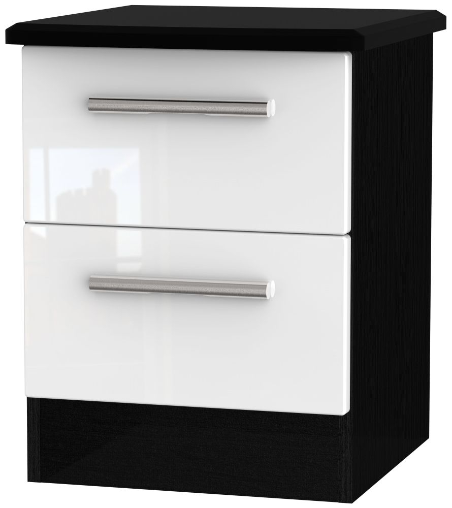 Knightsbridge High Gloss White and Black Bedside Cabinet - 2 Drawer Locker