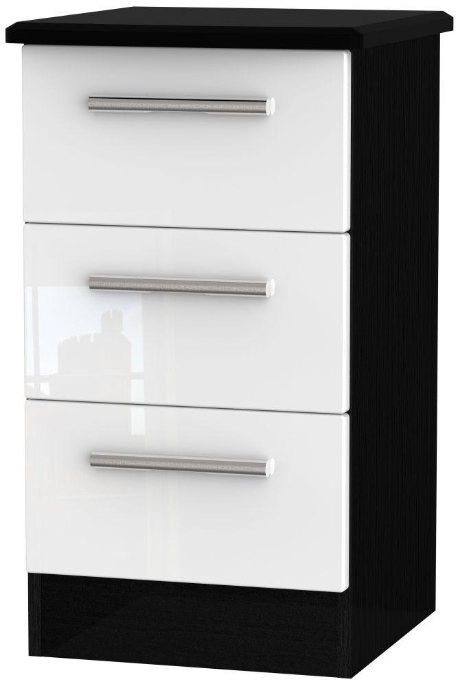 Knightsbridge 3 Drawer Bedside Cabinet - High Gloss White and Black