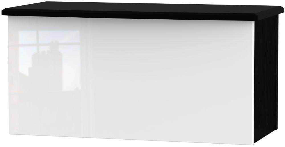 Knightsbridge Blanket Box - High Gloss White and Black