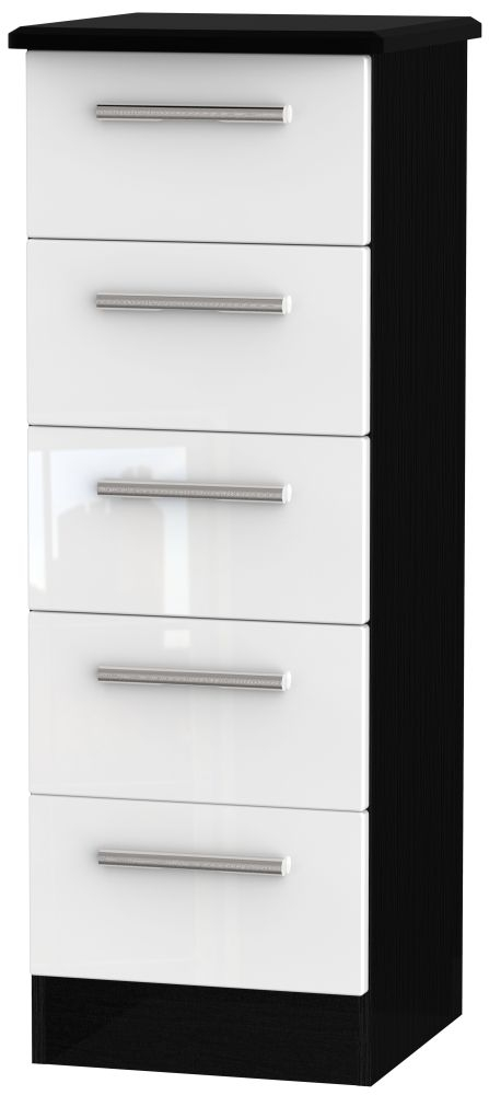 Knightsbridge 5 Drawer Tall Chest - High Gloss White and Black