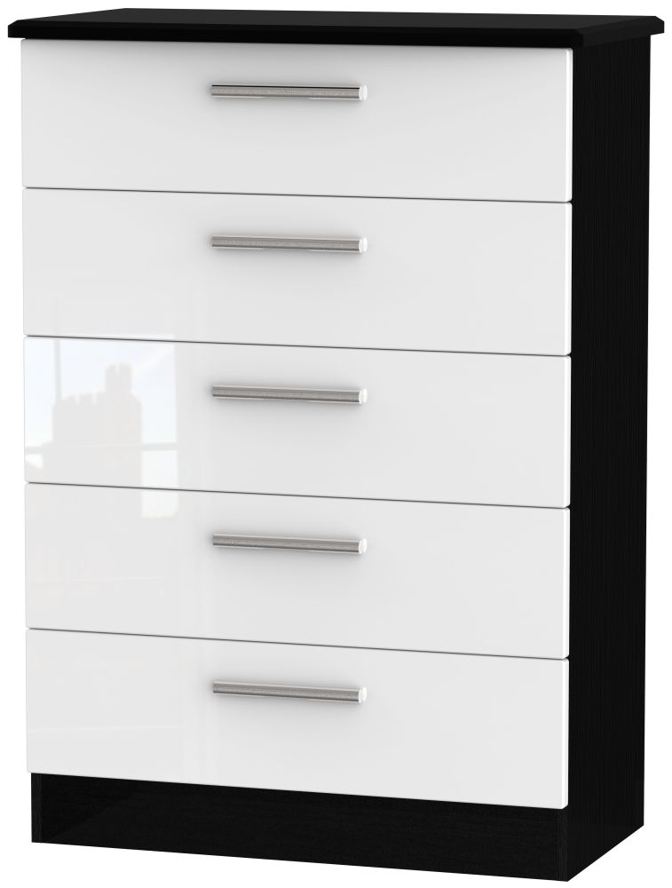 Knightsbridge 5 Drawer Chest - High Gloss White and Black