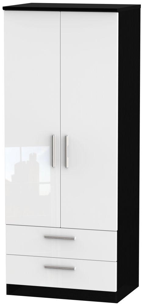 Knightsbridge 2 Door 2 Drawer Wardrobe - High Gloss White and Black