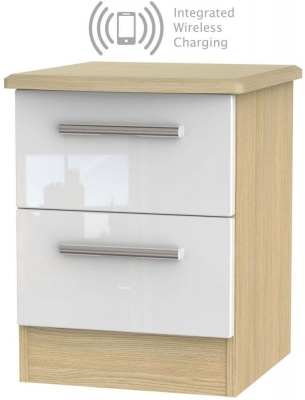 Knightsbridge 2 Drawer Bedside Cabinet with Integrated Wireless Charging - High Gloss White and Light Oak