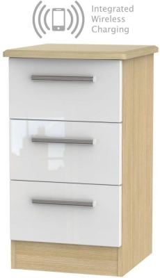 Knightsbridge 3 Drawer Bedside Cabinet with Integrated Wireless Charging - High Gloss White and Light Oak