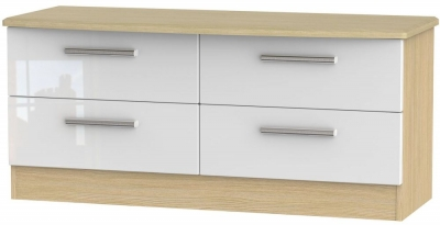 Knightsbridge Bed Box - High Gloss White and Light Oak