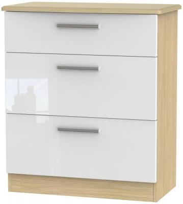 Knightsbridge High Gloss White and Light Oak Chest of Drawer - 3 Drawer Deep
