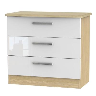 Knightsbridge High Gloss White and Light Oak Chest of Drawer - 3 Drawer